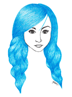 blue hair drawing pen fashion illustration