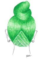 green hair drawing pen fashion illustration