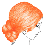 orange hair drawing pen fashion illustration