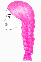 pink hair drawing pen fashion illustration