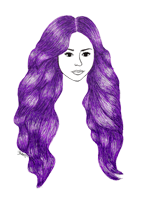 purple hair drawing pen fashion illustration