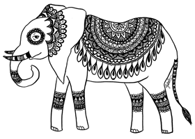 zentangle henna elephant art print
