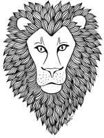 zentangle ink pattern lion head art print