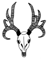 zentangle tribal pattern deer skull art print
